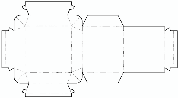 Die cutting image of Cylinder box templates no.02
